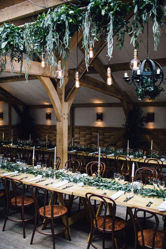 Scottish barn wedding foliage installations