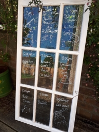Distressed window for table plan or order of the day (2 available) - Hire Cost £12