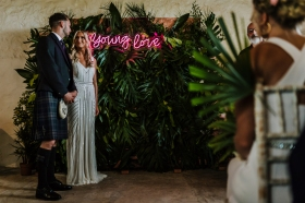 cow-shed-crail-wedding-tropical-neon-ceremony