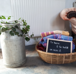 Basket or Metal tub of 10 blankets with sign - Hire Cost £30